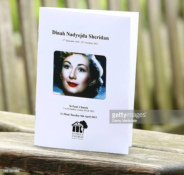 General view of the Order of Service at a memorial for Dinah Sheridan an actress who starred in 'The Railway Children' at St Paul's Church on April 9...