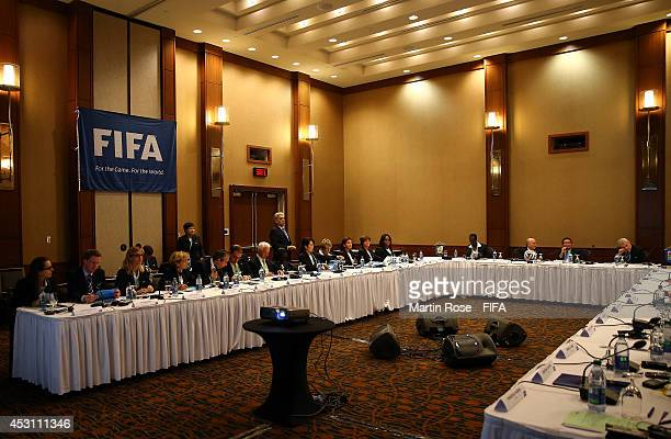 A general view of the Organising Committee Meeting for the FIFA U20 Women's World Cup Canada 2014 at the Le Westin Montreal on August 3 2014 in...