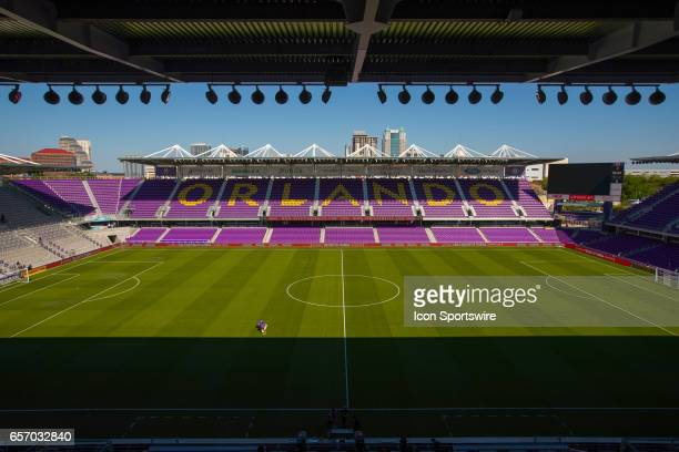 A general view of the Orlando City Stadium prior to the soccer match between the Orlando City Lions and the Philadelphia Union on March 18 2017 at...