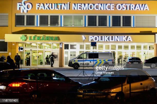 General view of the Ostrava Teaching Hospital after an earlier shooting incident on December 10, 2019 in Ostrava, Czech Republic. A gunman killed six...