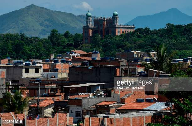 General view of the Oswaldo Cruz Foundation headquarters and the Complexo da Mare favela in Rio de Janeiro, Brazil on April 02 during the new...