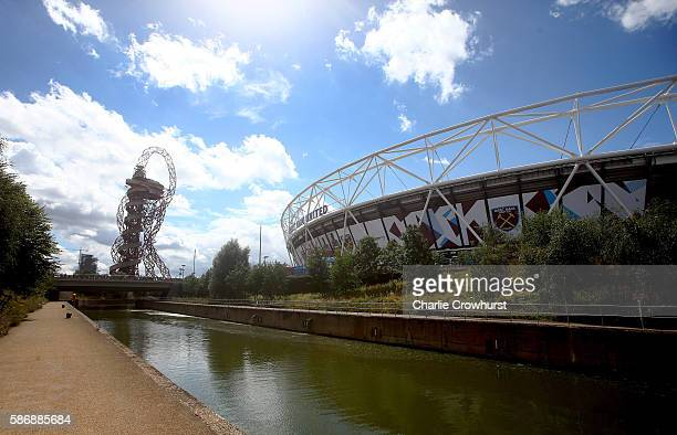 A general view of the out side of the stadium during the PreSeason Friendly between West Ham United and Juventus at The Olympic Stadium on August 7...
