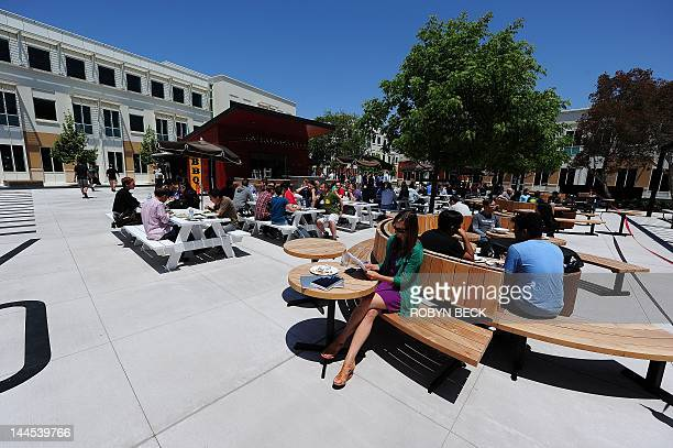 A general view of the outdoor lunch and relaxtion area at the Facebook main campus in Menlo Park California May 15 2012 Facebook the world's most...