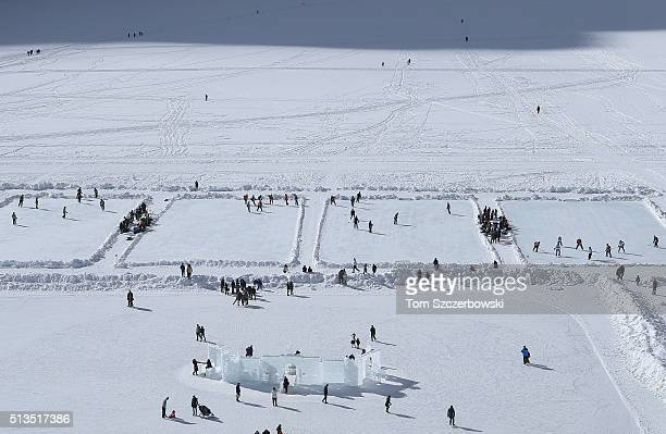 A general view of the outdoor shinny hockey rinks from the roof of the Chateau Lake Louise Fairmont during the 7th Annual Lake Louise Pond Hockey...