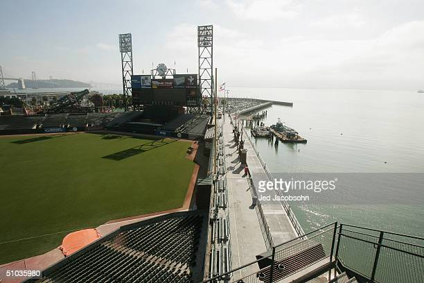 General view of the outfield and McCovey Cove at SBC Park, home of the San Francisco Giants before the MLB game against the Los Angeles Dodgers on...