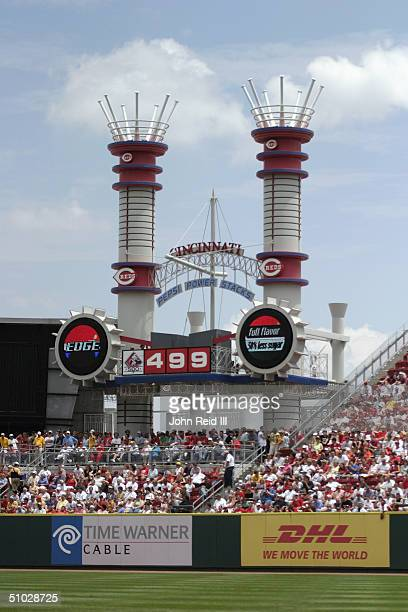 A general view of the outfield and the 499 sign at Great American Ball Park on June 17 2004 in Cincinnati Ohio The Reds defeated the Rangers 43