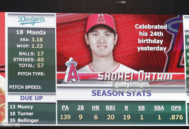 A general view of the outfield big screen is seen displaying the statistics of batter Shohei Ohtani of the Los Angeles Angels of Anaheim and pitcher...