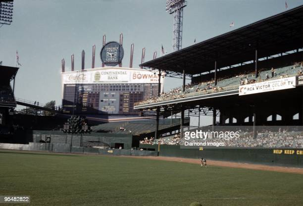 A general view of the outfield bleachers and scoreboard during the top of the seventh inning of a game on August 10 1961 between the Detroit Tigers...