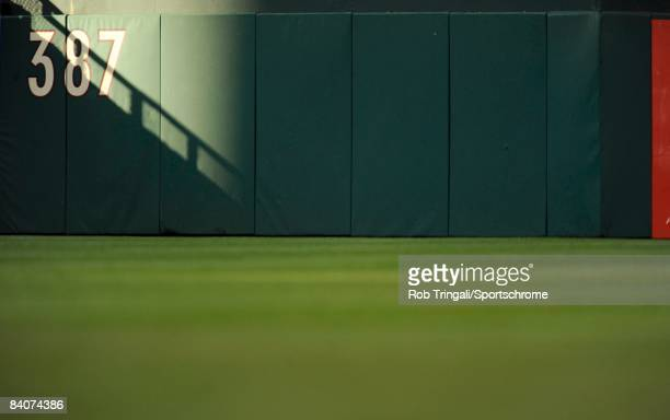 A general view of the outfield wall at Citizens Bank Park during Game Two of the National League Championship Series between the Philadelphia...
