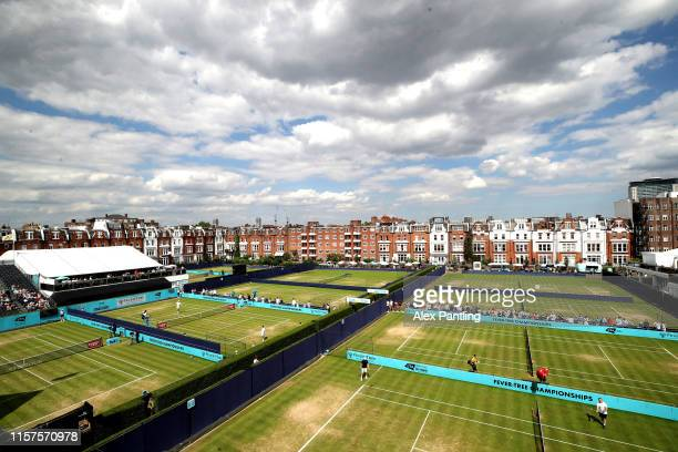 General view of the outside courts during day six of the Fever-Tree Championships at Queens Club on June 22, 2019 in London, United Kingdom.
