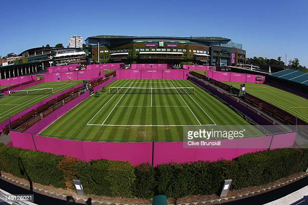 General view of the outside courts during previews ahead of the 2012 London Olympic Games at the All England Lawn Tennis and Croquet Club in...