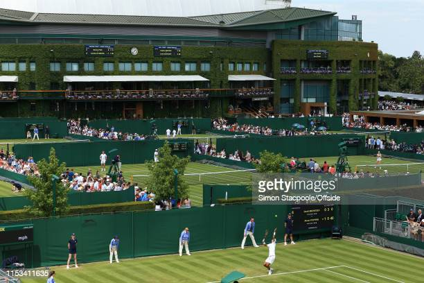 General view of the outside courts on Day 3 of The Championships - Wimbledon 2019 at the All England Lawn Tennis and Croquet Club on July 3, 2019 in...