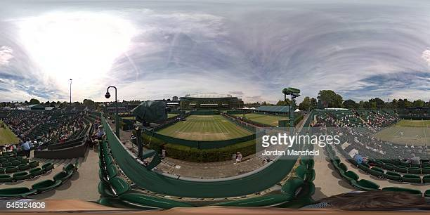 General view of the outside courts on day ten of the Wimbledon Lawn Tennis Championships at the All England Lawn Tennis and Croquet Club on July 7...