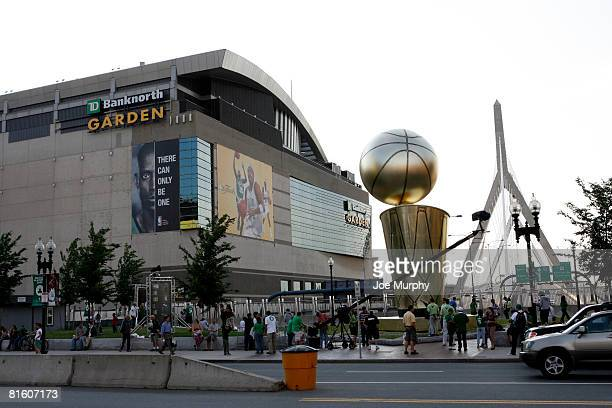 A general view of the outside of TD Banknorth Garden and a sculpture of the Larry O'Brien Championship Trophy displayed prior to Game Six of the 2008...