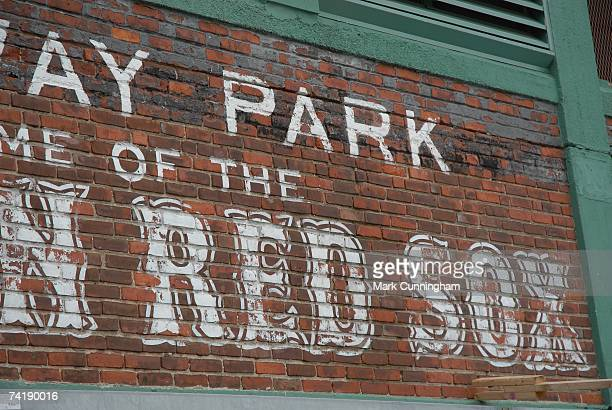 General view of the outside of Fenway Park before game one of a double header between the Boston Red Sox and the Detroit Tigers at Fenway Park in...
