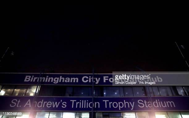 A general view of the outside of St Andrew's Trillion Trophy Stadium during the Sky Bet Championship match at St Andrew's Trillion Trophy Stadium...