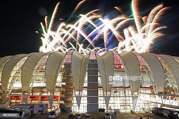 General view of the outside of the BeiraRio Stadium during its inauguration in Porto Alegre Rio Grande do Sul Brazil on April 5 2014 The Beira Rio...