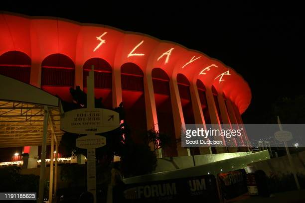 General view of the outside of the Forum during the the final show Slayer's Final Campaign tour at The Forum on November 30, 2019 in Inglewood,...
