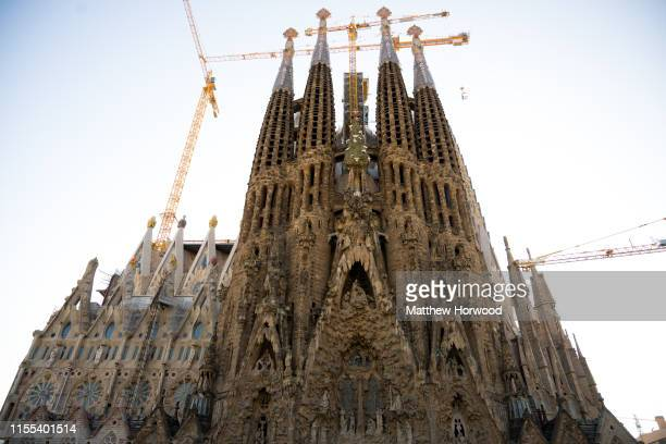A general view of the outside of the La Sagrada Familia Roman Catholic church on February 6 2019 in Barcelona Spain Construction of the Roman...