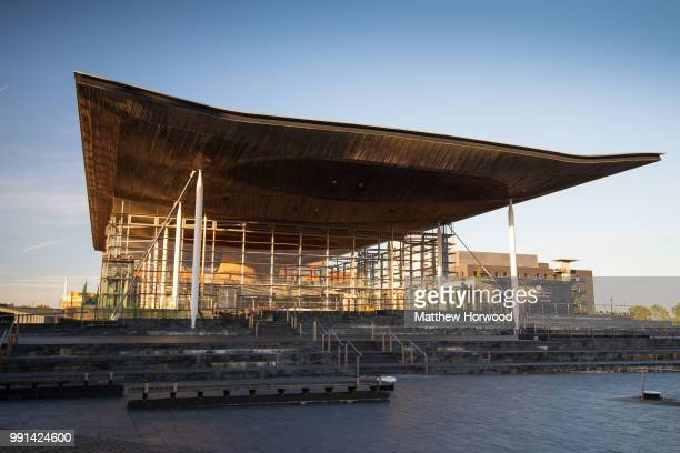 A general view of the outside of the Senedd at sunrise home of the Welsh National Assembly in Cardiff Bay on May 10 2018 in Cardiff United Kingdom
