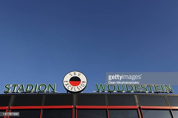 A general view of the outside of the stadion prior to the Eredivisie match between SC Excelsior Rotterdam and FC Groningen at Woudestein Stadium on...
