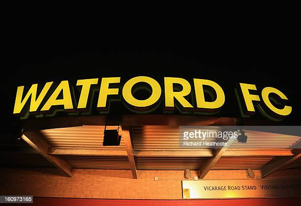 A general view of the outside of the stadium before the npower Championship match between Watford and Crystal Palace at Vicarage Road on February 8...