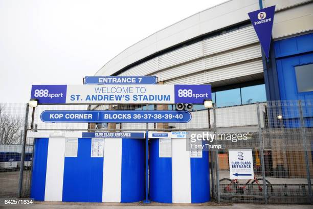 General view of the outside of the stadium during the Sky Bet Championship match between Birmingham City and Queens Park Rangers at St Andrews...