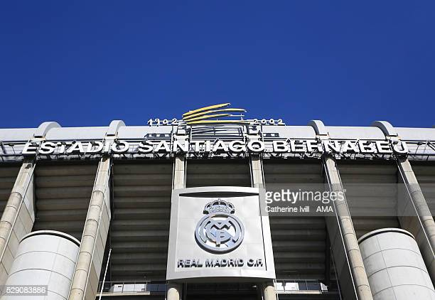 General view of the outside of the stadium with the club badge before the UEFA Champions League Semi Final second leg match between Real Madrid and...