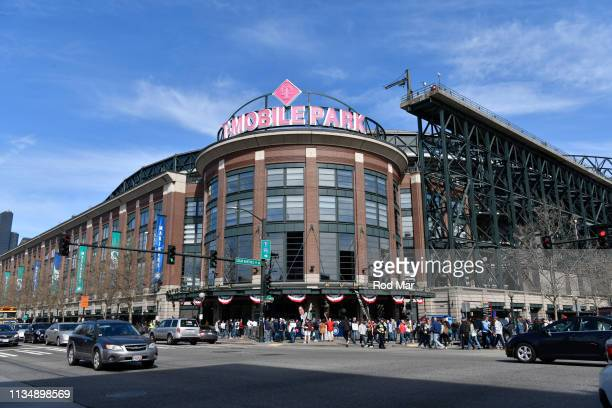 General view of the outside of T-Mobile park prior to a game between the Boston Red Sox and the Seattle Mariners at T-Mobile Park on Thursday, March...