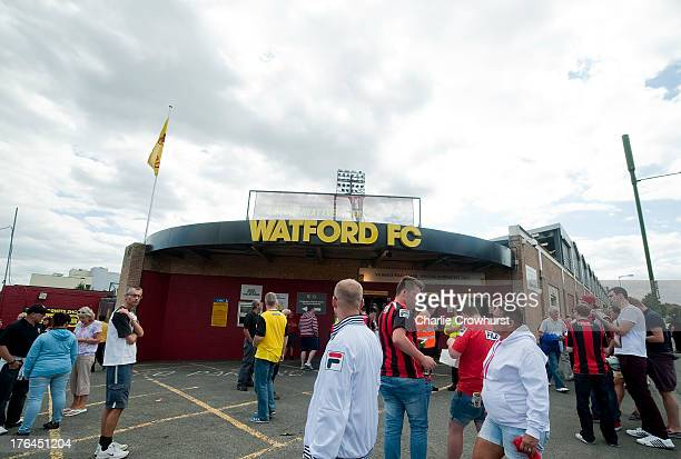 A general view of the outside of Vicarage Road during the Sky Bet Championship match between Watford and AFC Bournemouth at Vicarage Road on August...