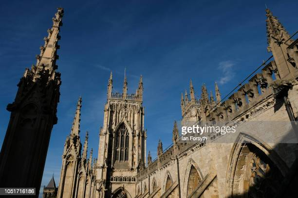 General view of the outside of York Minster as work begins inside to refurbish the Minster's Grand Organ for the first time in 100 years on October 9...