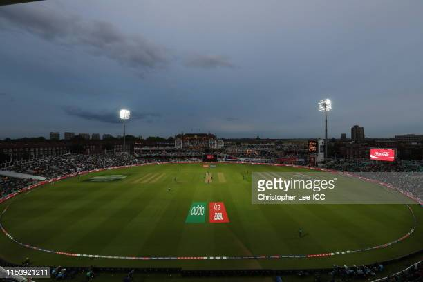 General view of the Oval with the floodlights on during the Group Stage match of the ICC Cricket World Cup 2019 between Bangladesh and New Zealand at...