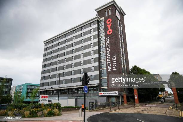 General view of the OYO Metropolitan Hotel in Blonk Street, Sheffield, where a five year old Afghan refugee boy fell to his death from a window on...