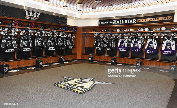 A general view of the Pacific Division and Central Division teams locker room stalls is seen prior to the 2017 Honda NHL AllStar Game at Staples...