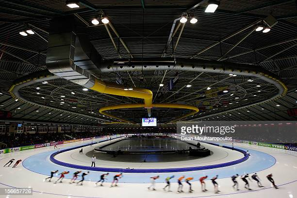 A general view of the pack and staduim during the Mass Start Men Division A race on the final day of the Essent ISU World Cup Speed Skating at Thialf...