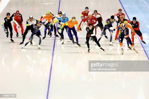 A general view of the pack during the Mass Start Men Division A race on the final day of the Essent ISU World Cup Speed Skating at Thialf Ice Stadium...
