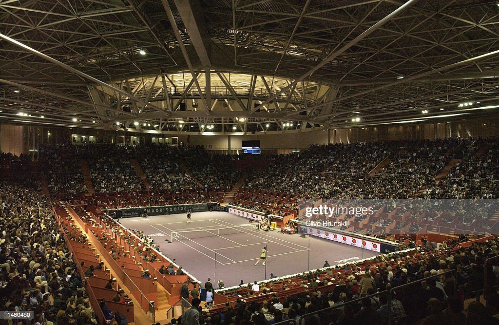 A general view of the packed centre court during the third round match between Feliciano Lopez of Spain and Andre Agassi of the USA during the Tennis Masters Madrid at The Pabellon De Cristal, Madrid, Spain on October 17, 2002.