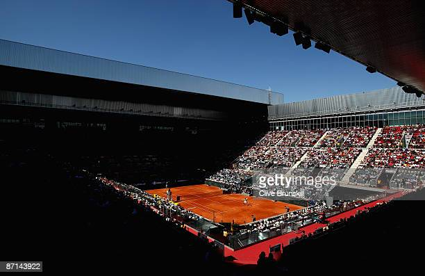 A general view of the packed out Manolo Santana centre court for the Rafael Nadal of Spain against Jurgen Melzer of Austria second round match during...