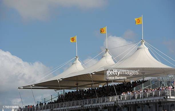 A general view of the packed stands during Glorious Goodwood at Goodwood racecourse on August 02 2013 in Chichester England