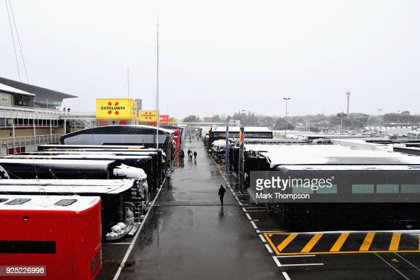 General view of the paddock as snow falls during day three of F1 Winter Testing at Circuit de Catalunya on February 28, 2018 in Montmelo, Spain.
