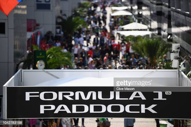 A general view of the paddock during final practice for the Formula One Grand Prix of Russia at Sochi Autodrom on September 29 2018 in Sochi Russia