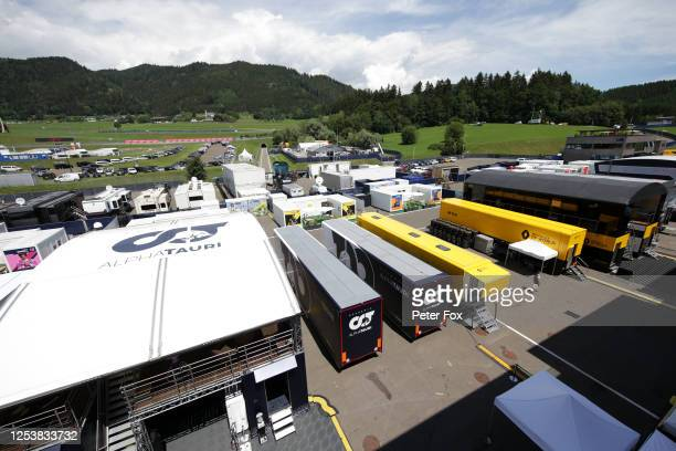 A general view of the paddock during previews for the F1 Grand Prix of Austria at Red Bull Ring on July 02 2020 in Spielberg Austria