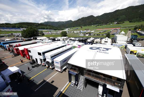General view of the paddock during previews for the F1 Grand Prix of Austria at Red Bull Ring on July 02, 2020 in Spielberg, Austria.