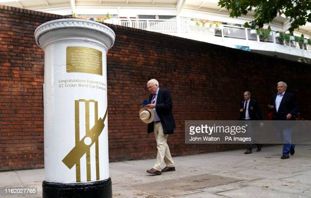A general view of the painted white and gold post box commemorating England's 219 Cricket World Cup win seen on day four of the Ashes Test match at...