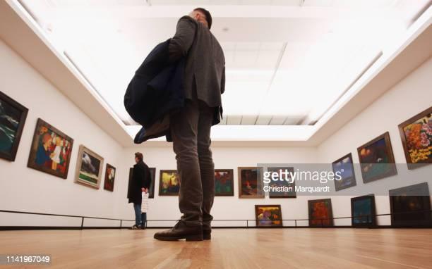 """General view of 'The Painting Gallery in Seebüll' during the preview of the exhibition """"Emil Nolde - Eine deutsche Legende. Der Kuenstler im..."""