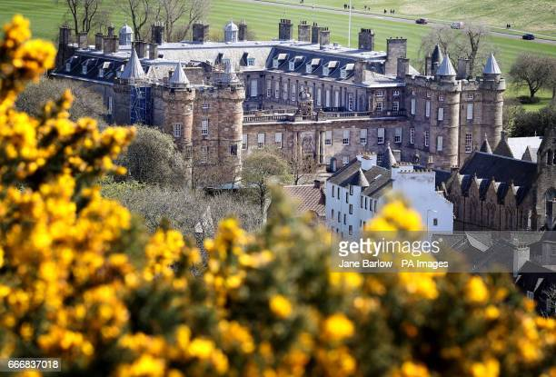 General view of the Palace of Holyroodhouse, Edinburgh, in the spring sunshine.
