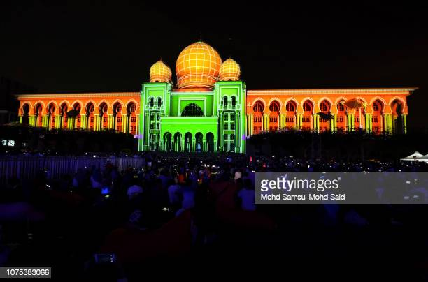 A general view of the Palace of Justice building covered by Projection Mapping during the festival of light and motion Putrajaya on December 28 2018...