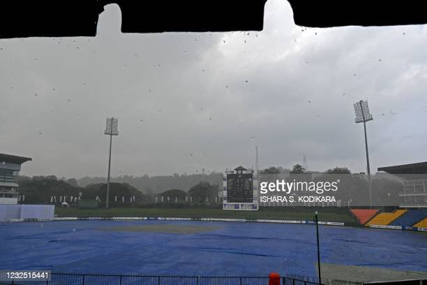 General view of the Pallekele International Cricket Stadium is pictured as it rains during the fifth and final day of the first Test cricket match...
