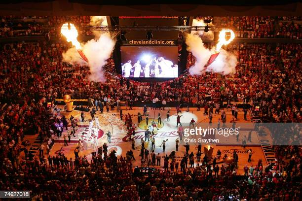 A general view of the palyer introductions before Game Four of the 2007 NBA Finals at The Quicken Loans Arena June 14 2007 in Cleveland Ohio NOTE TO...