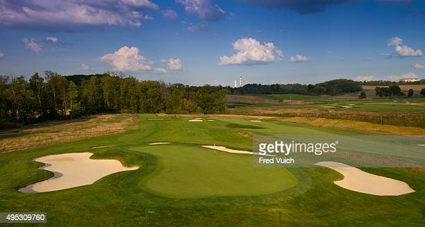 A general view of the par 3 13th hole at 2016 US Open site Oakmont Country Club on September 8 2015 in Oakmont Pennsylvania